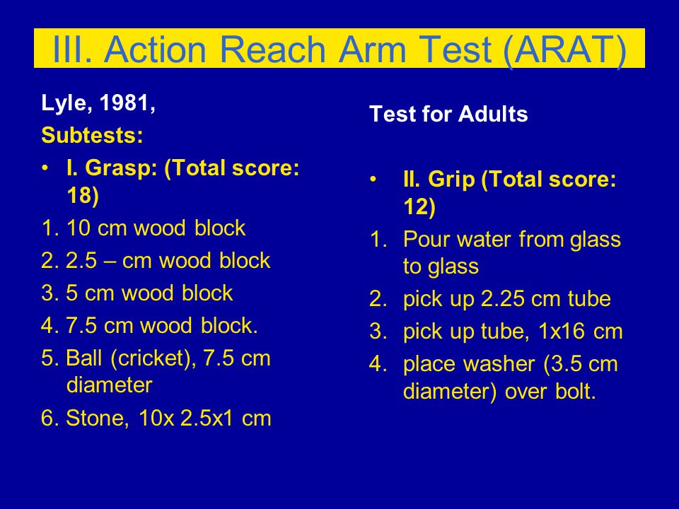 III. Action Reach Arm Test (ARAT) Lyle, 1981, Subtests: I.