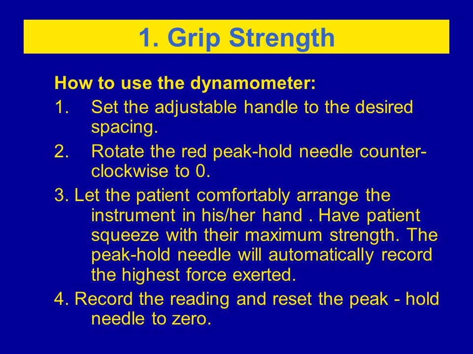 How to use the dynamometer: 1.Set the adjustable handle to the desired spacing.