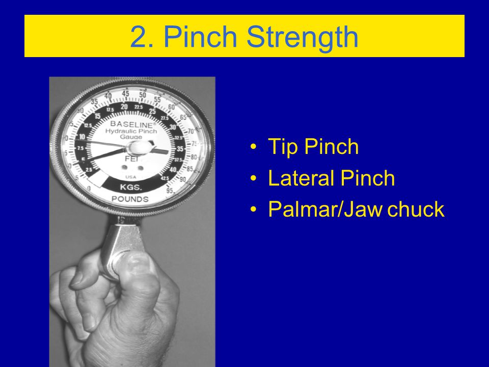 2. Pinch Strength Tip Pinch Lateral Pinch Palmar/Jaw chuck