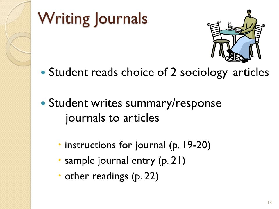 Writing Journals Student reads choice of 2 sociology articles Student writes summary/response journals to articles instructions for journal (p.
