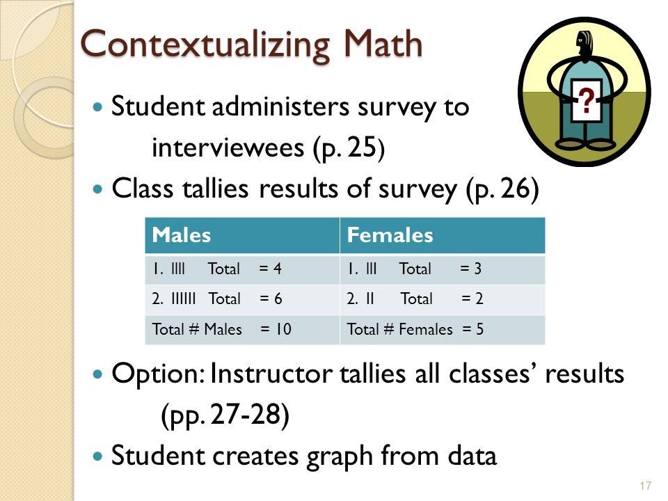 Contextualizing Math Student administers survey to interviewees (p.