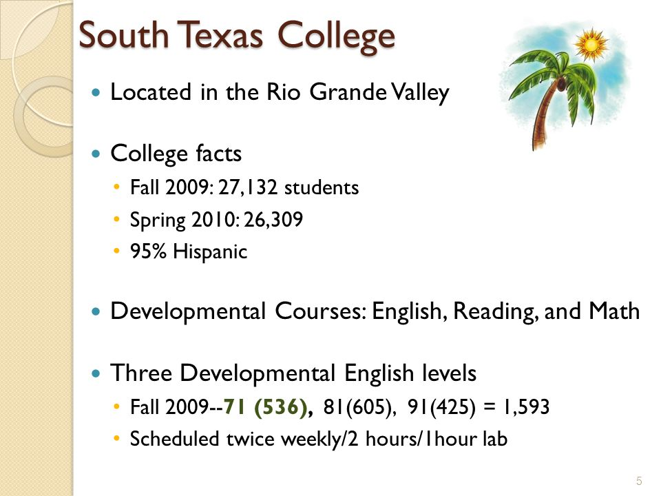 South Texas College Located in the Rio Grande Valley College facts Fall 2009: 27,132 students Spring 2010: 26,309 95% Hispanic Developmental Courses: English, Reading, and Math Three Developmental English levels Fall 2009--71 (536), 81(605), 91(425) = 1,593 Scheduled twice weekly/2 hours/1hour lab 5