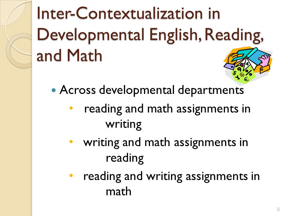 Inter-Contextualization in Developmental English, Reading, and Math Across developmental departments reading and math assignments in writing writing and math assignments in reading reading and writing assignments in math 8