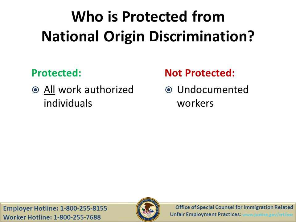 Who is Protected from National Origin Discrimination.
