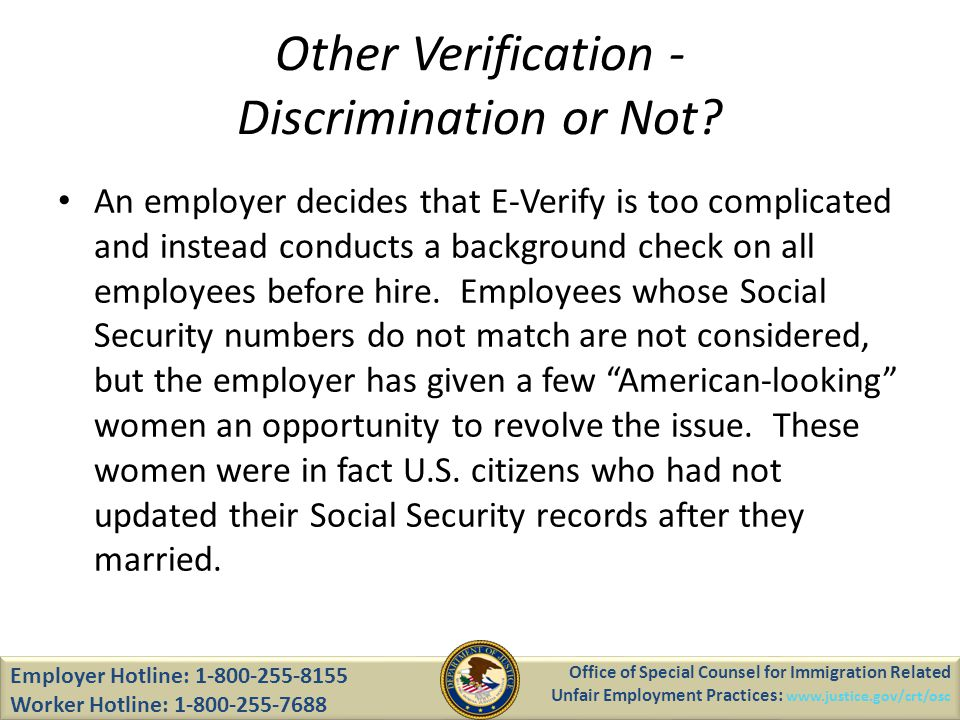 Other Verification - Discrimination or Not.