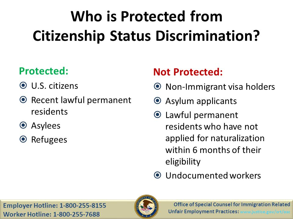Who is Protected from Citizenship Status Discrimination.