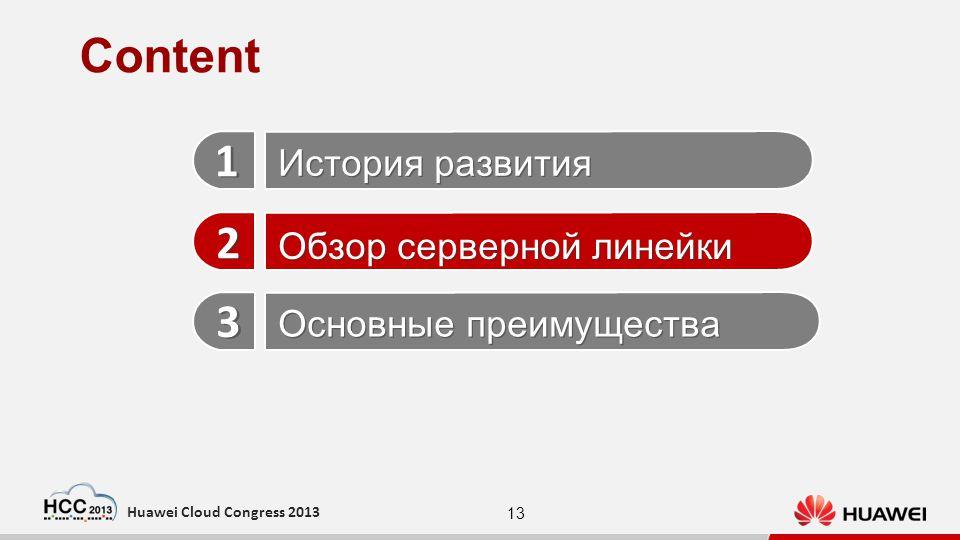 13 Huawei Cloud Congress 2013 История развития Обзор серверной линейки Основные преимущества 1 1 2 2 3 3 Content