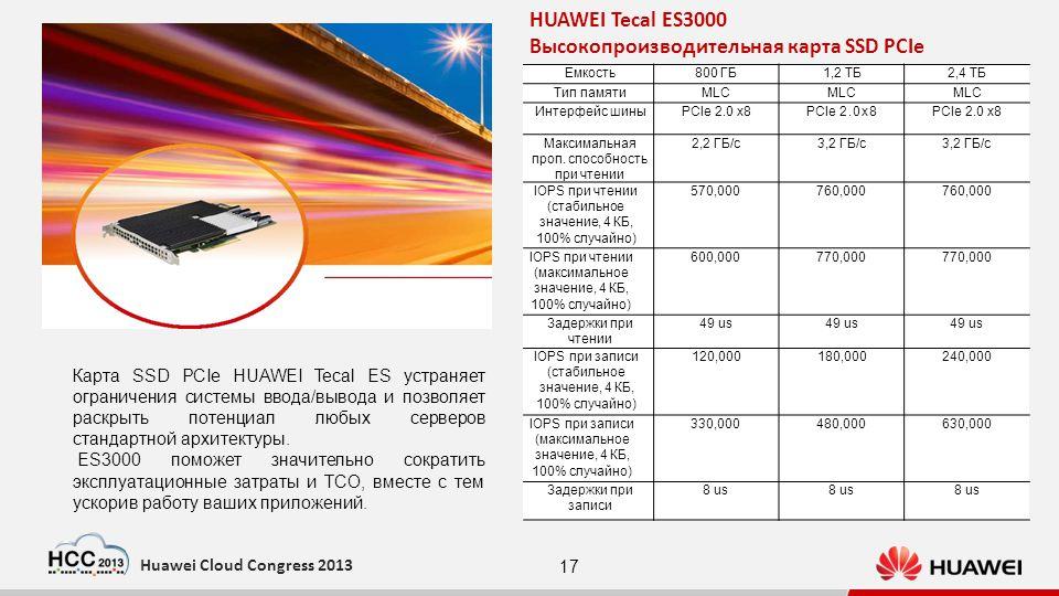 17 Huawei Cloud Congress 2013 1.2TB2.4TB Flash granule Form factor Bus interface MLC Full-height, half-length PCIe 2.0 x8 MLC Full-height, half-length PCIe 2.0 x8 MLC Full-height, half-length PCIe 2.0 x8 Maximum read bandwidth Read IOPS (Stable value, 4 KB, 100% random) Read IOPS (Maximum value, 4 KB, 100% random) Read latency Maximum write bandwidth Write IOPS (Stable value, 4 KB, 100% random) Write IOPS (Maximum value, 4 KB, 100% random) Write latency 2.2 GB/s 570,000 600,000 49 µs 1.2 GB/s 120,000 330,000 8 µs 3.2 GB/s 760,000 770,000 49 µs 1.8 GB/s 180,000 480,000 8 µs 3.2 GB/s 760,000 770,000 49 µs 2.8 GB/s 240,000 630,000 8 µs Mixed IOPS (4 KB, R/W: 7/3) Power consumption Weight Power-down protection Granules failure protection Supported trim 260,000 (R/W: 180,000/80,000) 20 W to 35 W 300g Yes 400,000 (R/W: 280,000/120,000) 25 W to 50 W 350g Yes 430,000 (R/W: 300,000/130,000) 25 W to 60 W 350g Yes HUAWEI Tecal ES3000 Высокопроизводительная карта SSD PCIe Карта SSD PCIe HUAWEI Tecal ES устраняет ограничения системы ввода/вывода и позволяет раскрыть потенциал любых серверов стандартной архитектуры.