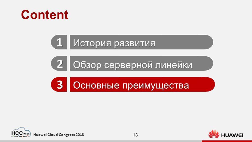 18 Huawei Cloud Congress 2013 1 1 2 2 3 3 История развития Обзор серверной линейки Основные преимущества Content