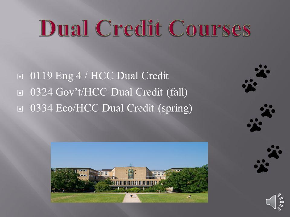 0119 Eng 4 / HCC Dual Credit 0324 Govt/HCC Dual Credit (fall) 0334 Eco/HCC Dual Credit (spring)