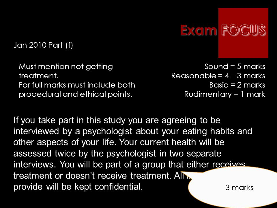 The A2 Examination : January 2010 examUnit 4 Topic: Research methods A psychologist was interested in testing a new treatment for people with eating d