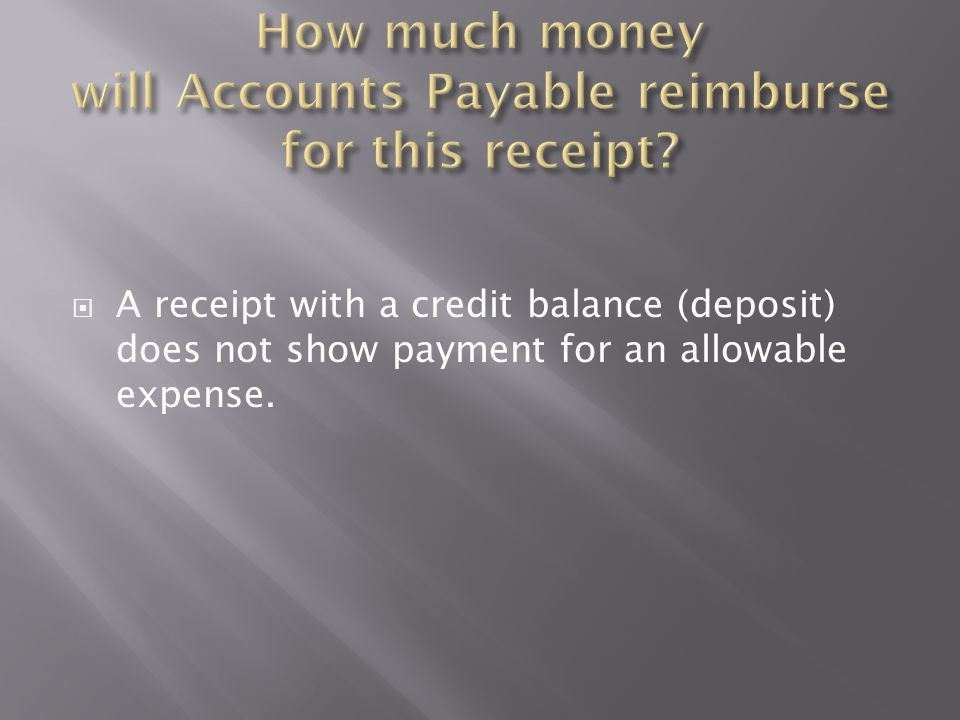 Deposit Charges Remaining Balance