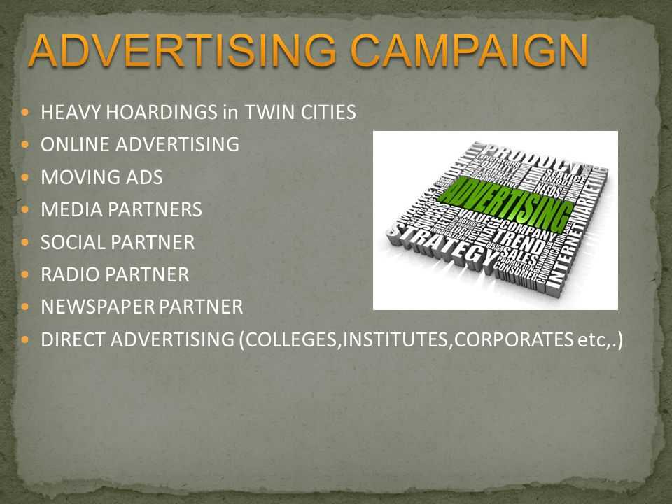HEAVY HOARDINGS in TWIN CITIES ONLINE ADVERTISING MOVING ADS MEDIA PARTNERS SOCIAL PARTNER RADIO PARTNER NEWSPAPER PARTNER DIRECT ADVERTISING (COLLEGES,INSTITUTES,CORPORATES etc,.)