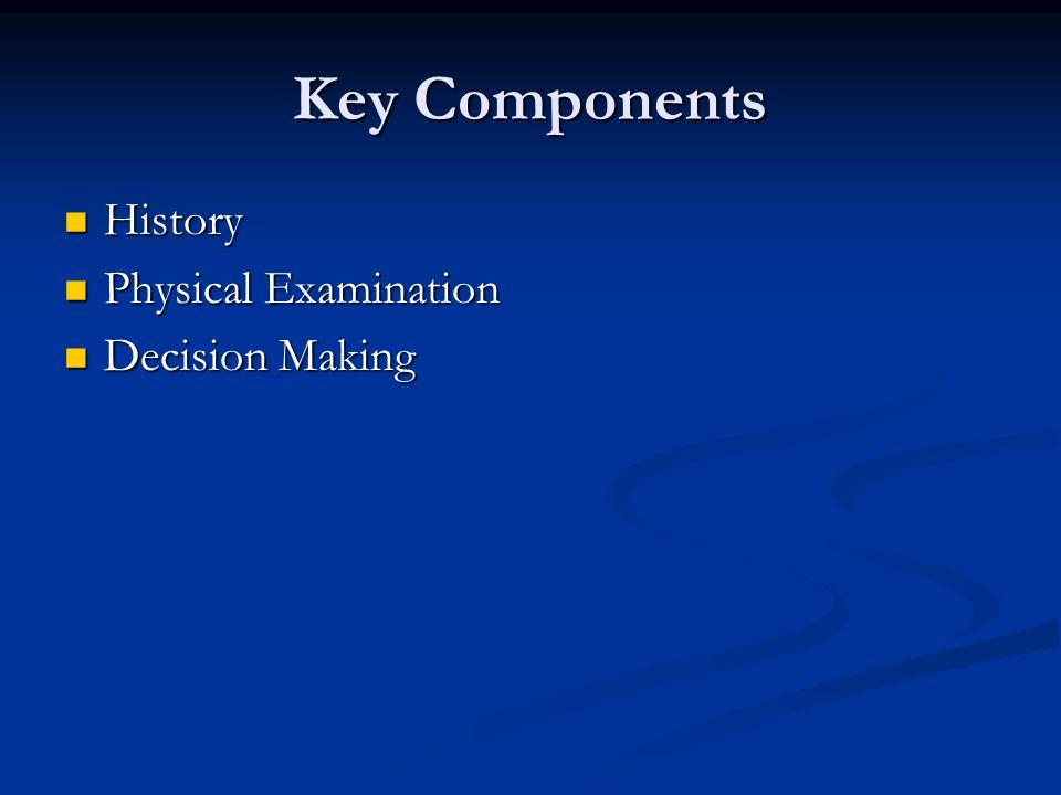 Key Components History History Physical Examination Physical Examination Decision Making Decision Making
