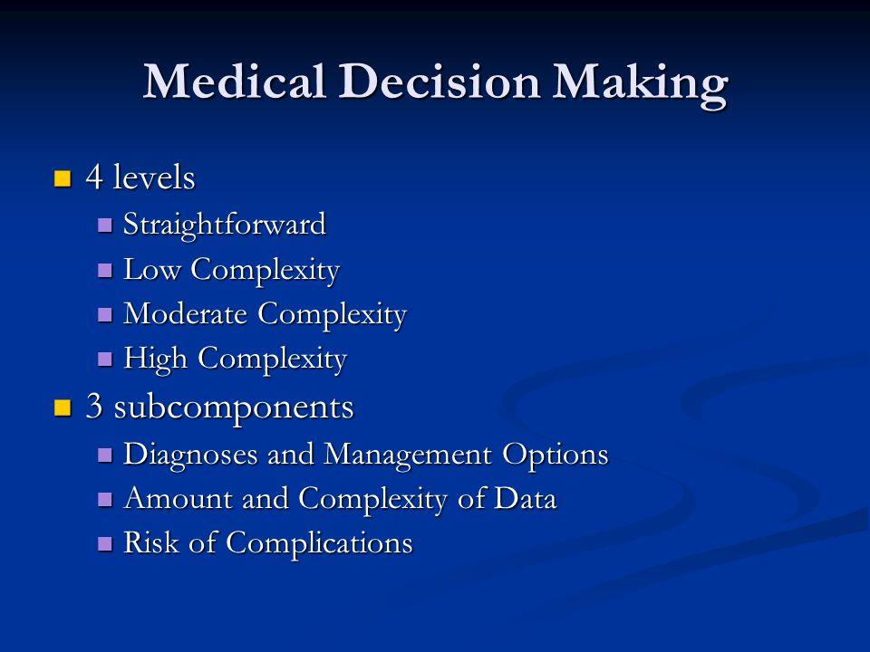 Medical Decision Making 4 levels 4 levels Straightforward Straightforward Low Complexity Low Complexity Moderate Complexity Moderate Complexity High C