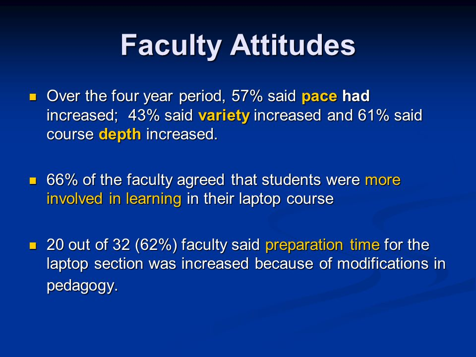 Faculty Attitudes Over the four year period, 57% said pace had increased; 43% said variety increased and 61% said course depth increased.