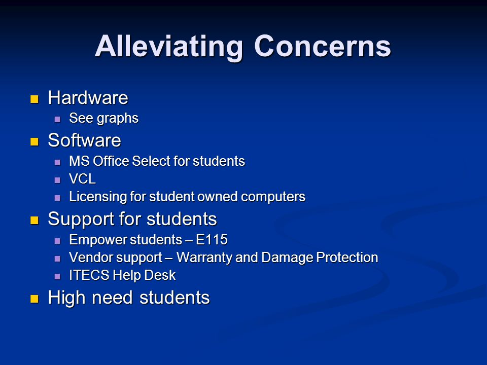 Alleviating Concerns Hardware Hardware See graphs See graphs Software Software MS Office Select for students MS Office Select for students VCL VCL Licensing for student owned computers Licensing for student owned computers Support for students Support for students Empower students – E115 Empower students – E115 Vendor support – Warranty and Damage Protection Vendor support – Warranty and Damage Protection ITECS Help Desk ITECS Help Desk High need students High need students