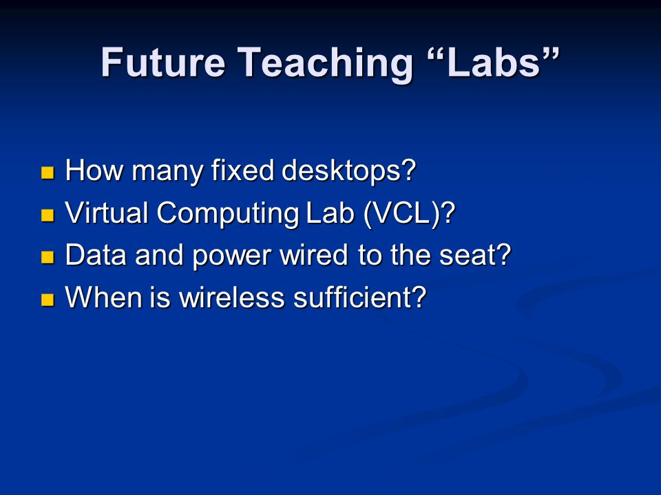 Future Teaching Labs How many fixed desktops. How many fixed desktops.