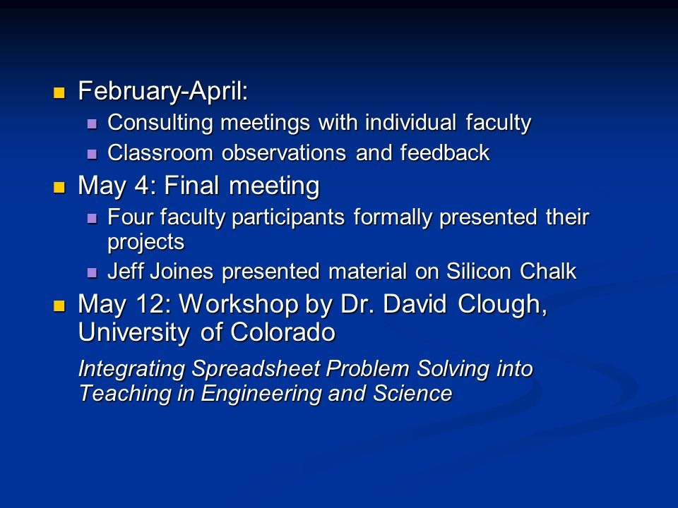 February-April: February-April: Consulting meetings with individual faculty Consulting meetings with individual faculty Classroom observations and feedback Classroom observations and feedback May 4: Final meeting May 4: Final meeting Four faculty participants formally presented their projects Four faculty participants formally presented their projects Jeff Joines presented material on Silicon Chalk Jeff Joines presented material on Silicon Chalk May 12: Workshop by Dr.