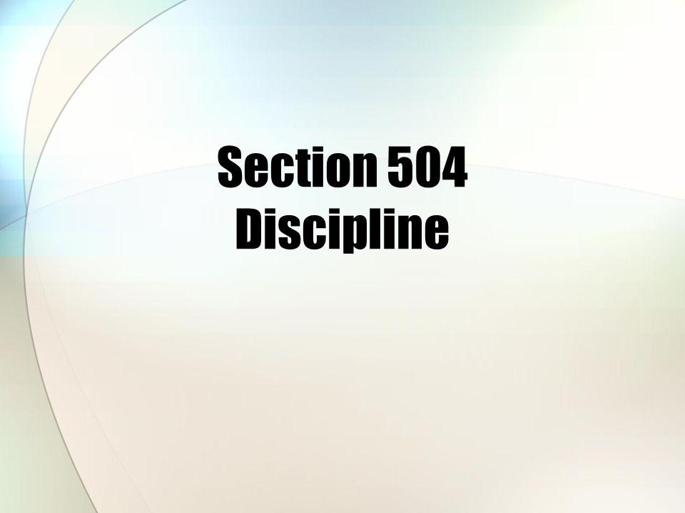 Section 504 Discipline