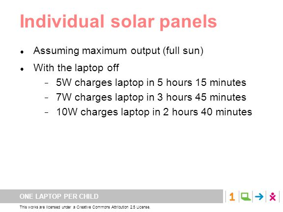 ONE LAPTOP PER CHILD This works are licensed under a Creative Commons Attribution 2.5 License. Individual solar panels Assuming maximum output (full s