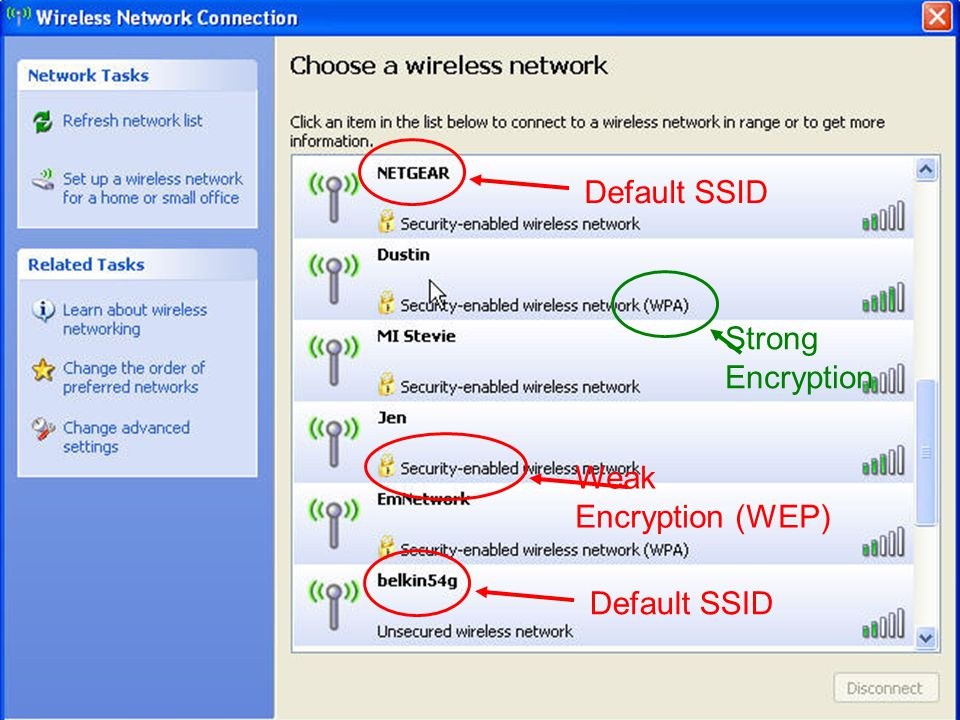 17 Default SSID Strong Encryption Weak Encryption (WEP)