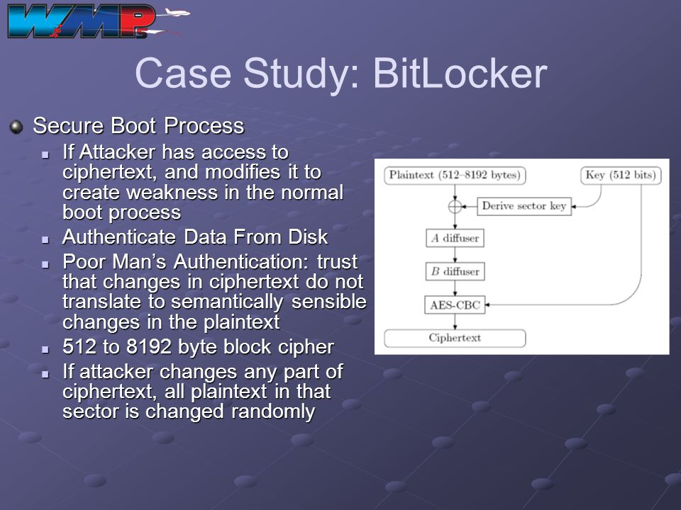 Case Study: BitLocker Secure Boot Process If Attacker has access to ciphertext, and modifies it to create weakness in the normal boot process If Attac