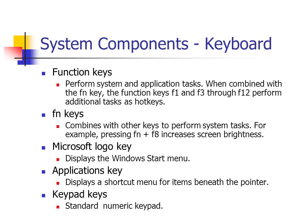 System Components - Keyboard Function keys Perform system and application tasks. When combined with the fn key, the function keys f1 and f3 through f1