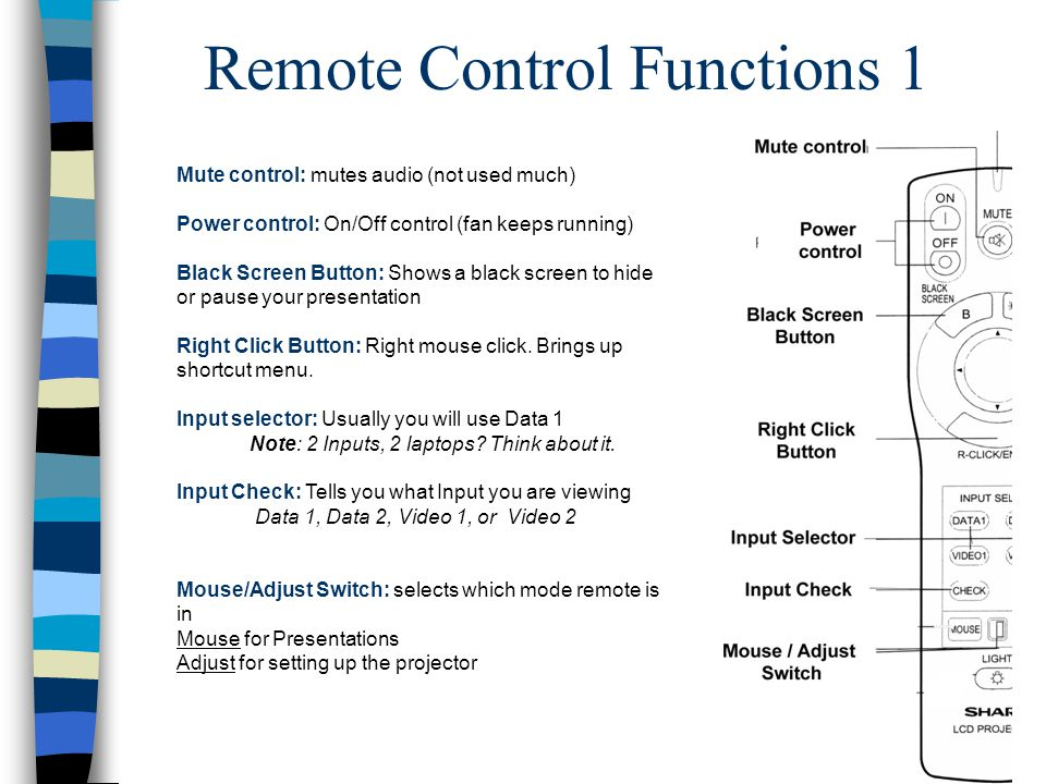 Remote Control Functions 1 Mute control: mutes audio (not used much) Power control: On/Off control (fan keeps running) Black Screen Button: Shows a black screen to hide or pause your presentation Right Click Button: Right mouse click.