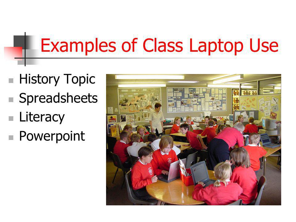 Examples of Class Laptop Use History Topic Spreadsheets Literacy Powerpoint