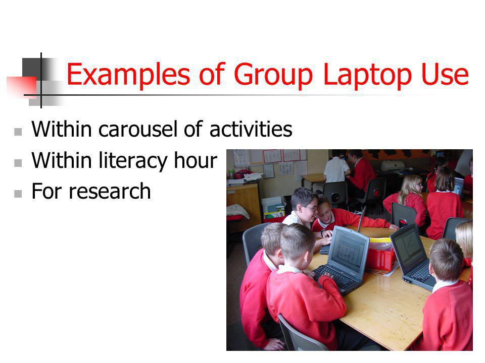 Examples of Group Laptop Use Within carousel of activities Within literacy hour For research