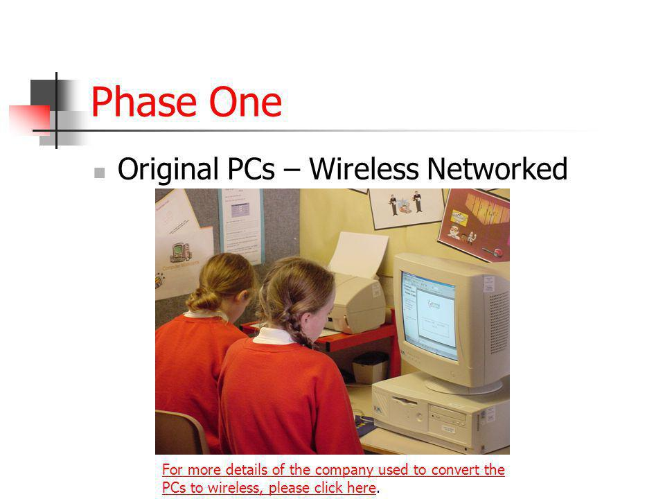 Phase One Original PCs – Wireless Networked For more details of the company used to convert the PCs to wireless, please click hereFor more details of the company used to convert the PCs to wireless, please click here.