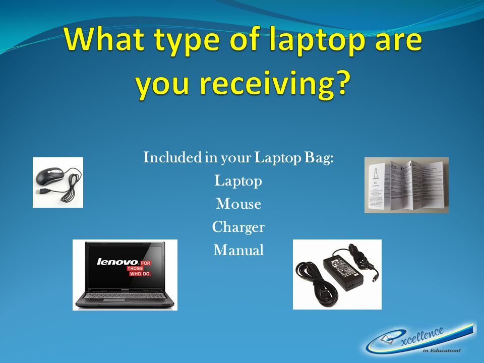 Included in your Laptop Bag: Laptop Mouse Charger Manual