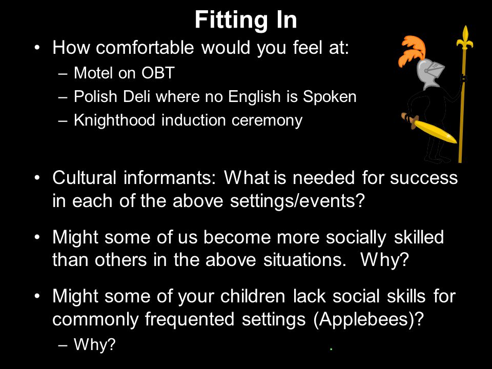 Fitting In How comfortable would you feel at: –Motel on OBT –Polish Deli where no English is Spoken –Knighthood induction ceremony Cultural informants: What is needed for success in each of the above settings/events.