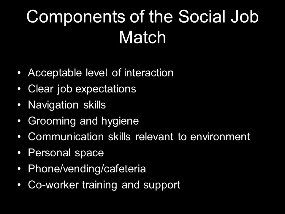 Components of the Social Job Match Acceptable level of interaction Clear job expectations Navigation skills Grooming and hygiene Communication skills relevant to environment Personal space Phone/vending/cafeteria Co-worker training and support