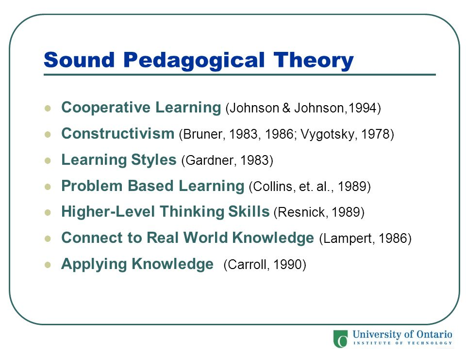 Sound Pedagogical Theory Cooperative Learning (Johnson & Johnson,1994) Constructivism (Bruner, 1983, 1986; Vygotsky, 1978) Learning Styles (Gardner, 1
