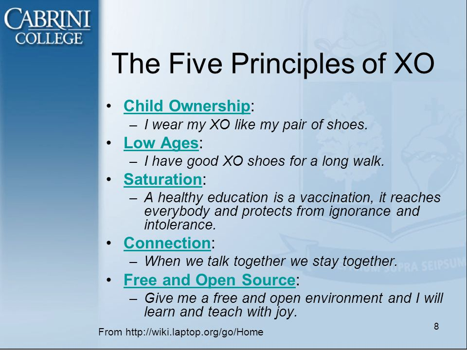 The Five Principles of XO Child Ownership:Child Ownership –I wear my XO like my pair of shoes.