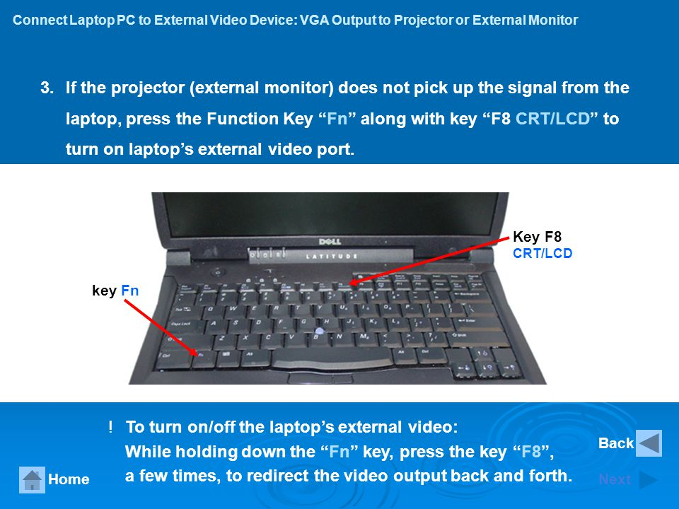 Connect Laptop PC to External Video Device: S-Video Output to TV Device HomeNext 7.And then select Detect Displays button to detect the connected external TV device.