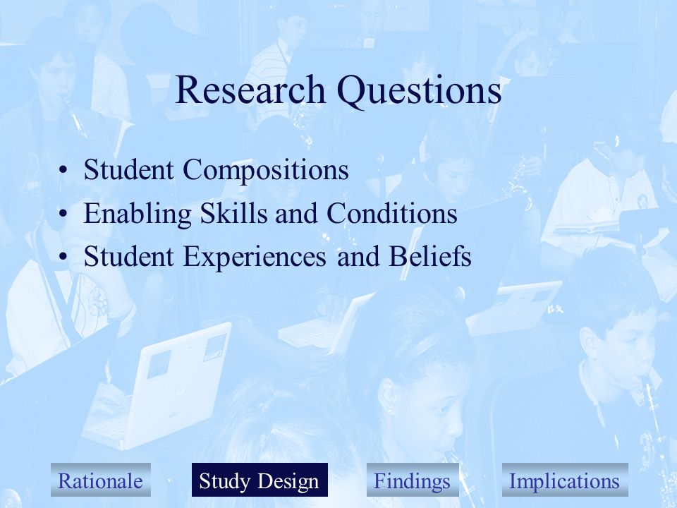 RationaleStudy DesignFindingsImplications Research Questions Student Compositions Enabling Skills and Conditions Student Experiences and Beliefs Study Design