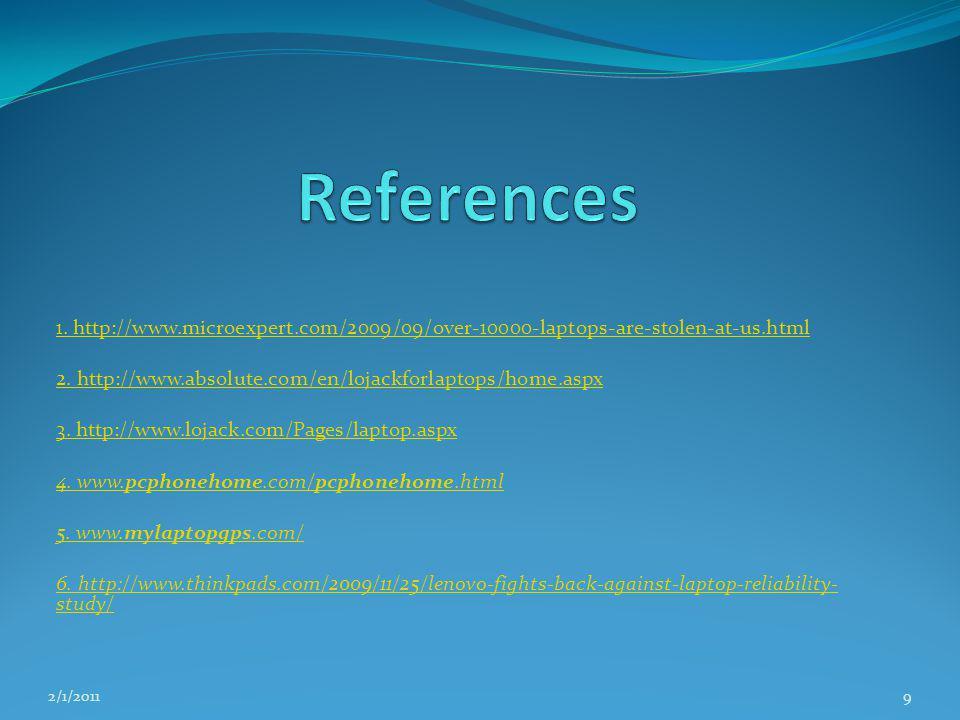 1. http://www.microexpert.com/2009/09/over-10000-laptops-are-stolen-at-us.html 2. http://www.absolute.com/en/lojackforlaptops/home.aspx 3. http://www.