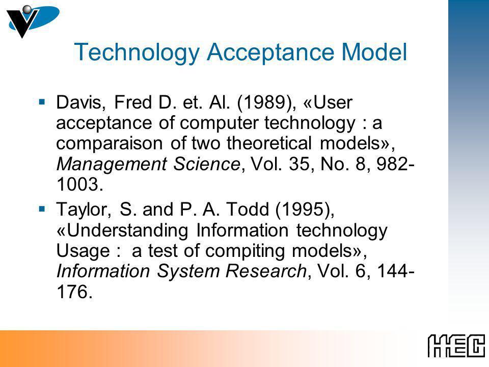 Technology Acceptance Model Davis, Fred D. et. Al.