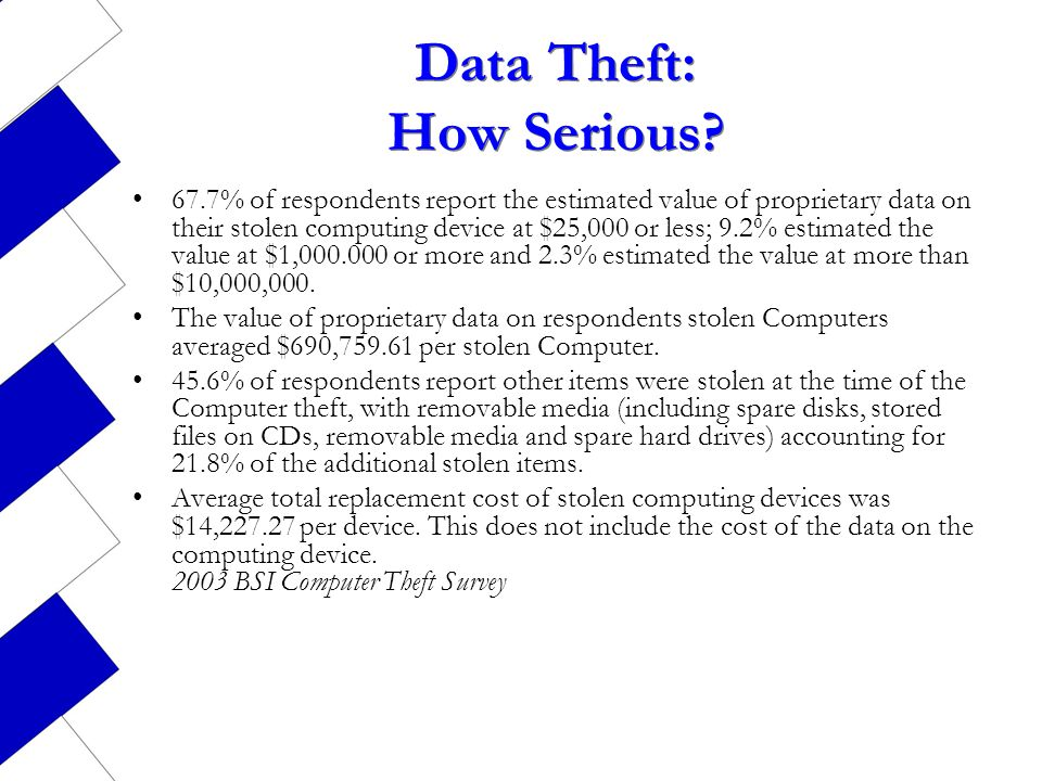 Data Theft: How Serious? 67.7% of respondents report the estimated value of proprietary data on their stolen computing device at $25,000 or less; 9.2%