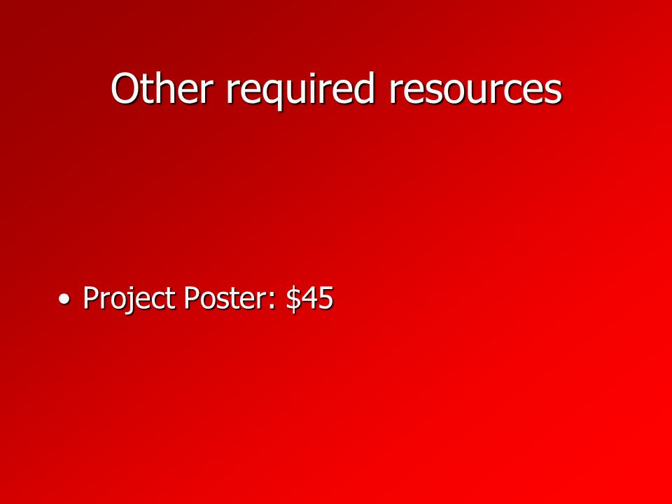 Other required resources Project Poster: $45Project Poster: $45