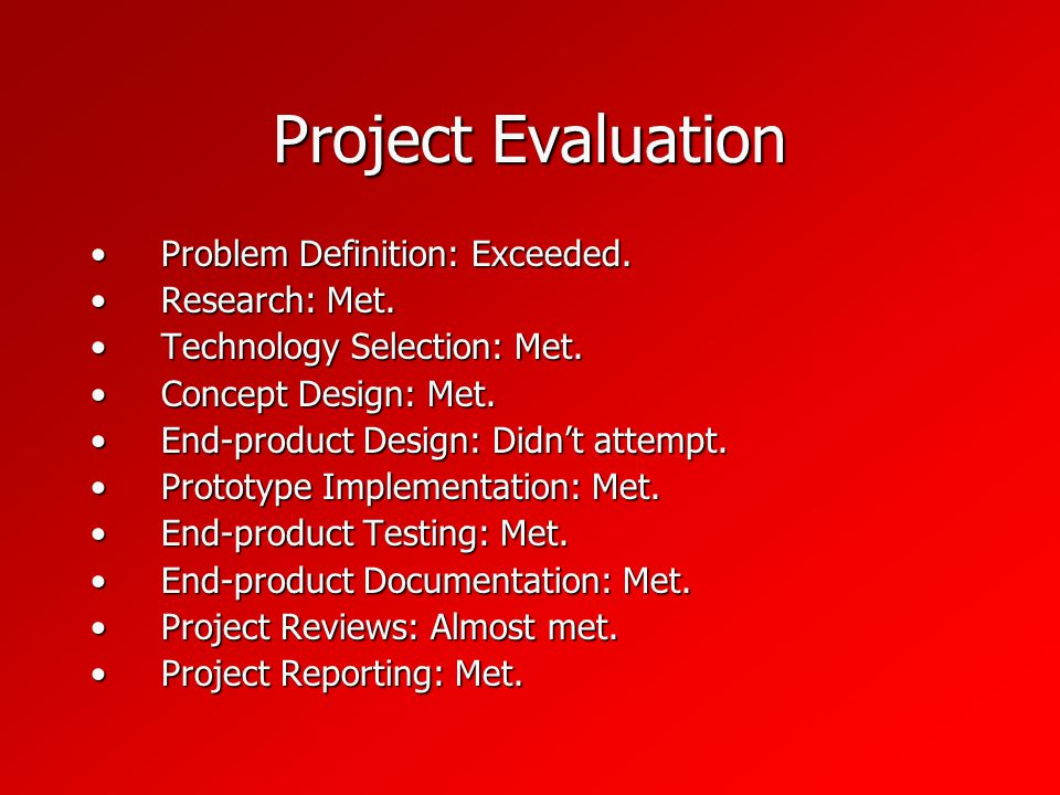 Project Evaluation Problem Definition: Exceeded.Problem Definition: Exceeded.