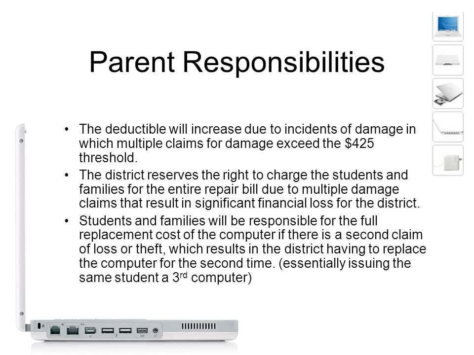 Parent Responsibilities The deductible will increase due to incidents of damage in which multiple claims for damage exceed the $425 threshold.
