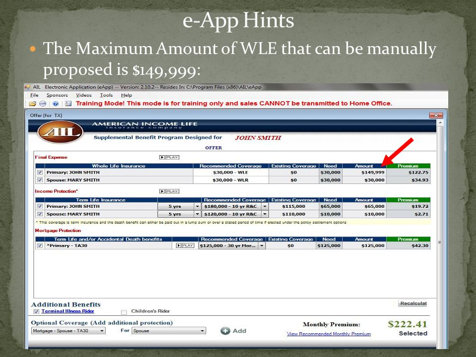 The Maximum Amount of WLE that can be manually proposed is $149,999: