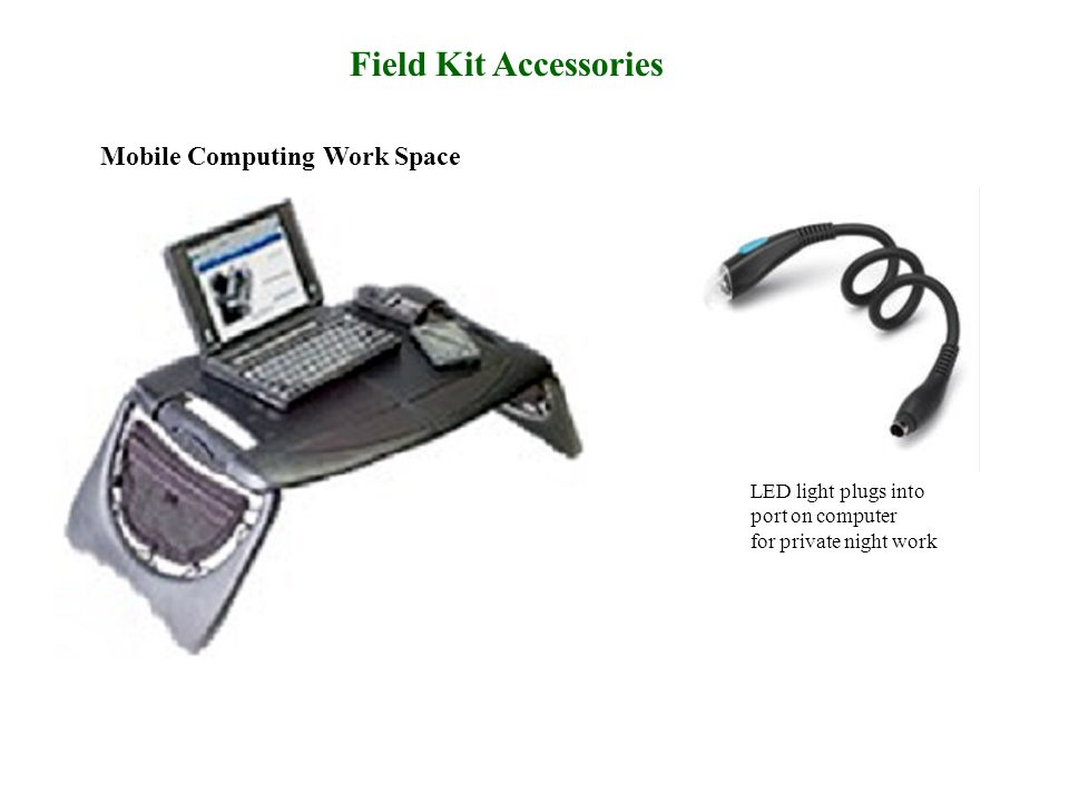 Mobile Computing Work Space LED light plugs into port on computer for private night work Field Kit Accessories