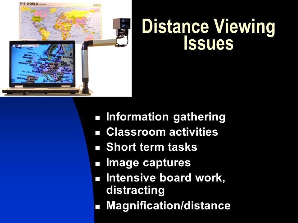 Distance Viewing Issues Information gathering Classroom activities Short term tasks Image captures Intensive board work, distracting Magnification/dis