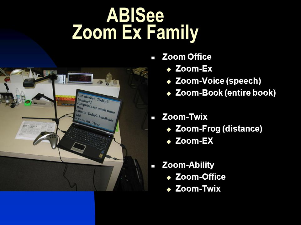 ABISee Zoom Ex Family Zoom Office Zoom-Ex Zoom-Voice (speech) Zoom-Book (entire book) Zoom-Twix Zoom-Frog (distance) Zoom-EX Zoom-Ability Zoom-Office