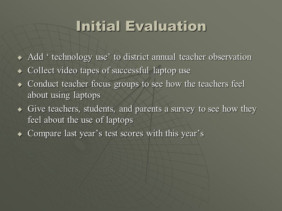 Initial Evaluation Add technology use to district annual teacher observation Add technology use to district annual teacher observation Collect video t